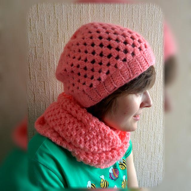 Розовый набор из альпаки: шапка и снуд