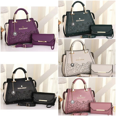 JESSICA MINKOFF BAG ( 3 in 1 Set ) - ARMY GREEN , BLACK , GREY , LIGHT PURPLE , PURPLE