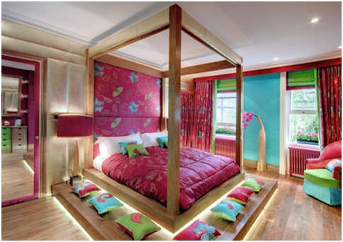 WOODEN BEDROOM for GIRL - FUCHSIA TURQUOISE GREEN