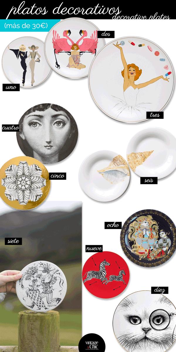 platos decorativos de porcelana y cerámica