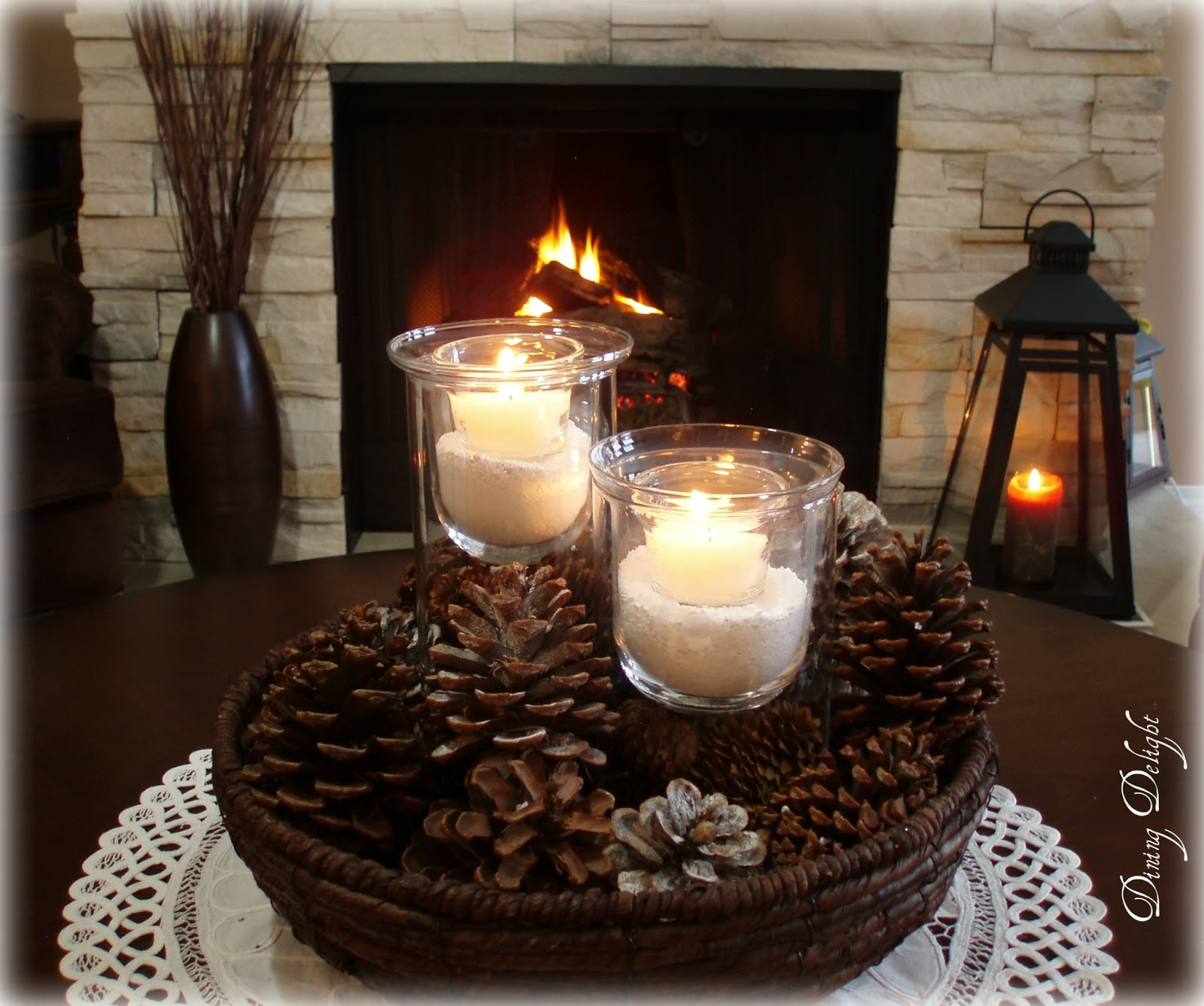 Winter Coffee Table Centerpiece