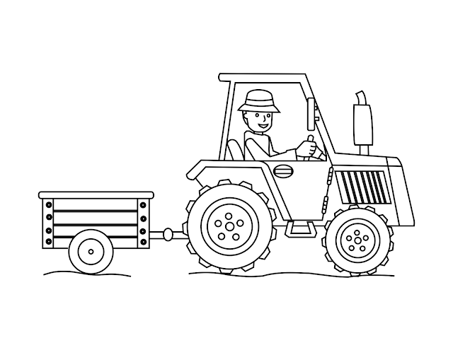 simple tractor coloring pages - photo#3