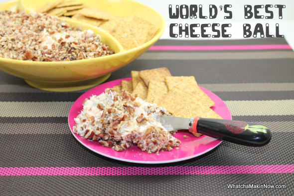 World's Best Cheese Ball from @whatchamakinnow - cream cheese, pineapple, green onion, green pepper, pecans!  Best appetizer!