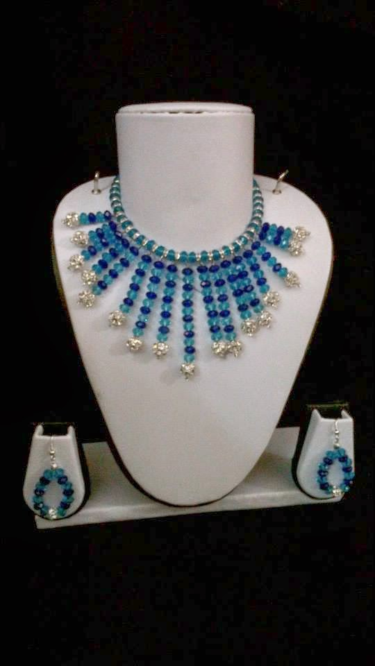 crystal necklace in Indigo and Turquoise