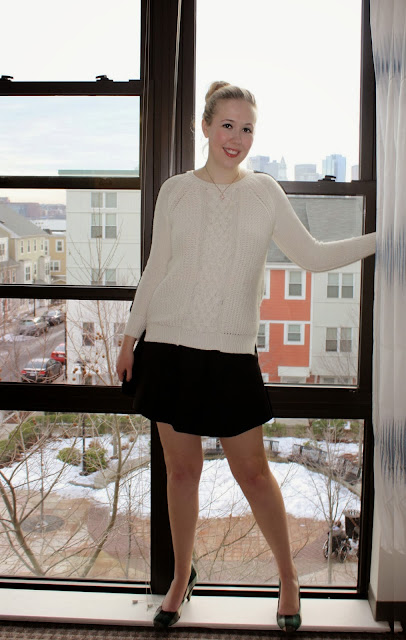 Boston Winter Outfits White CableKnit Zara J Crew Fluted Skirt School Girl Look Plaid Shoes