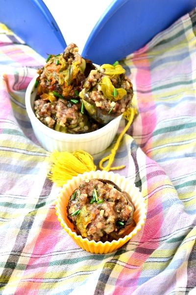 zucchine e carciofi ripieni di salsiccia
