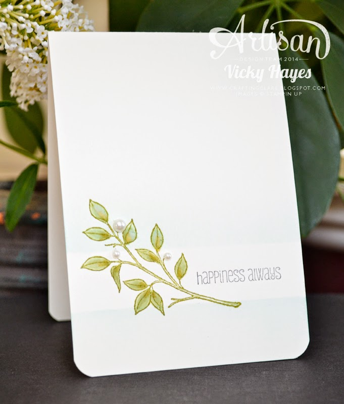 Elegant one layer wedding card using Choose Happiness from Stampin' Up