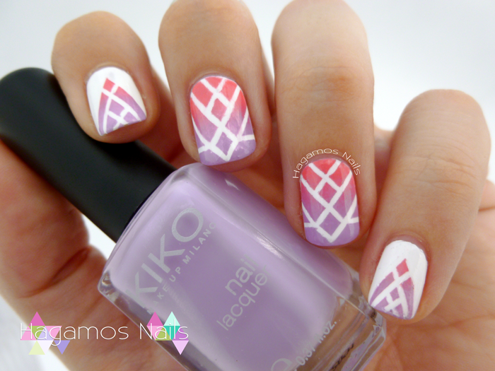 Nail art Degradado Morado y Rosa. Hagamos Nails