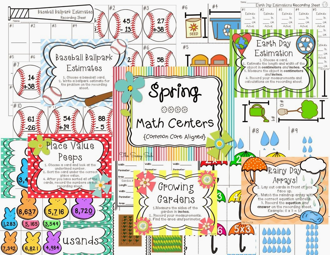 http://www.teacherspayteachers.com/Product/Spring-into-Math-Centers-Common-Core-Aligned-1167422