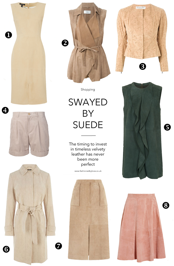 suede trend ss 2015 / spring trends / best suede buys / suede dress, suede skirt, suede trench, suede tops, suede jackets / fashioned by love / british fashion blog
