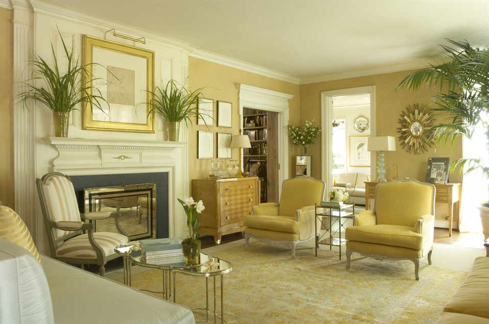 Jan Showers Designed This Elegant Soft Living Room In Inviting Gold Against Pared Down Neutrals