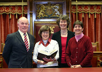 Pictured at a talk by Rev Mercia Malcolm for Contemporary Christianity on the literary friendship between CS Lewis and JRR Tolkien, a Community Relations Week event in Parliament Buildings on Thursday May 23, are (left to right), Kieran McCarthy MLA Strangford, Rev Mercia Malcolm Vicar of  Carnmoney Church of Ireland, Ethel White East Belfast and Pat Devine visiting from USA.