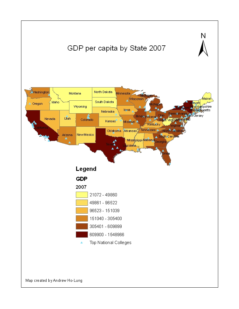 s dakota that are among the lowest gdp do not have any universities i created this map using arcgis and downloaded the shapefiles from geocommons com