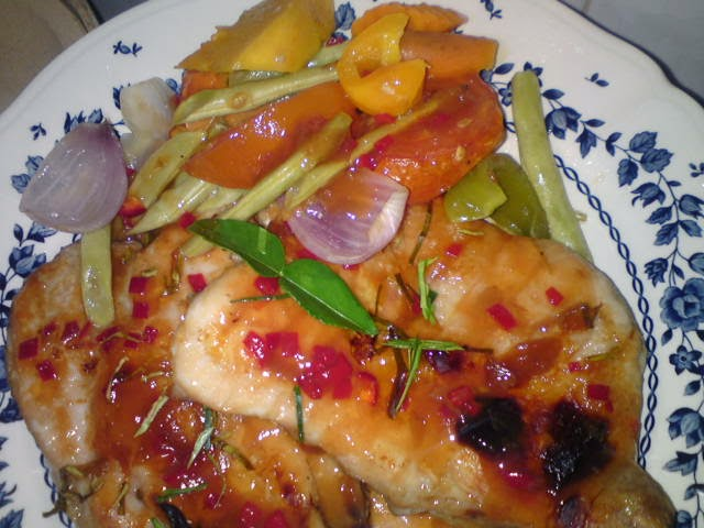 sourish sweet and fragrant baked chicken with Thai style sauce. The ...
