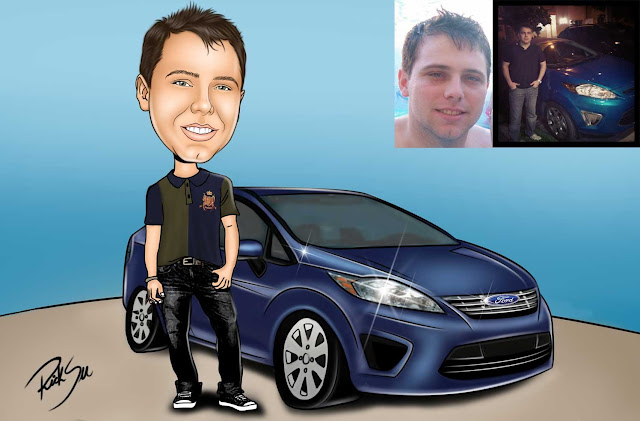 caricatura com carro
