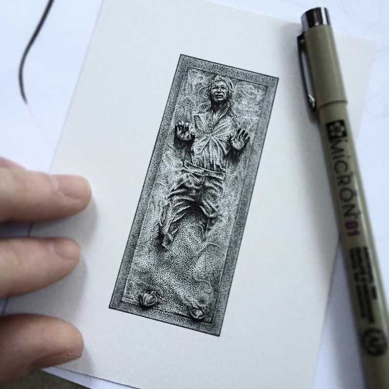 02-Star-Wars-Harrison-Ford-Han-Solo-in-Carbonite-Paul-Jackson-Star-Wars-Miniature-Drawings-www-designstack-co