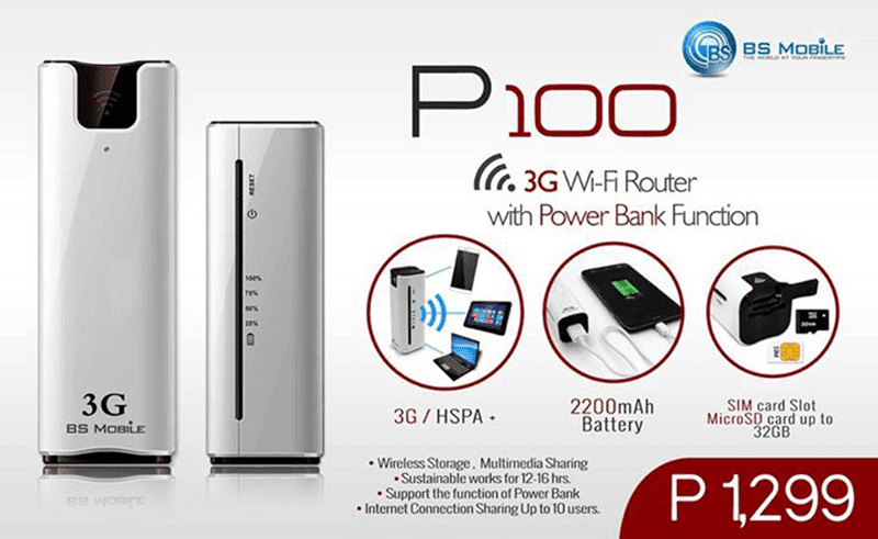 BS MOBILE P100 ANNOUNCED! HSPA+ WIFI ROUTER WITH POWERBANK AT 1,299 PESOS!