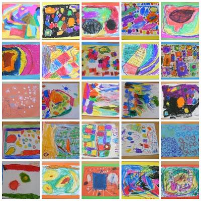 Aula de infantil cuadros abstractos con ceras for Fotos de cuadros abstractos sencillos