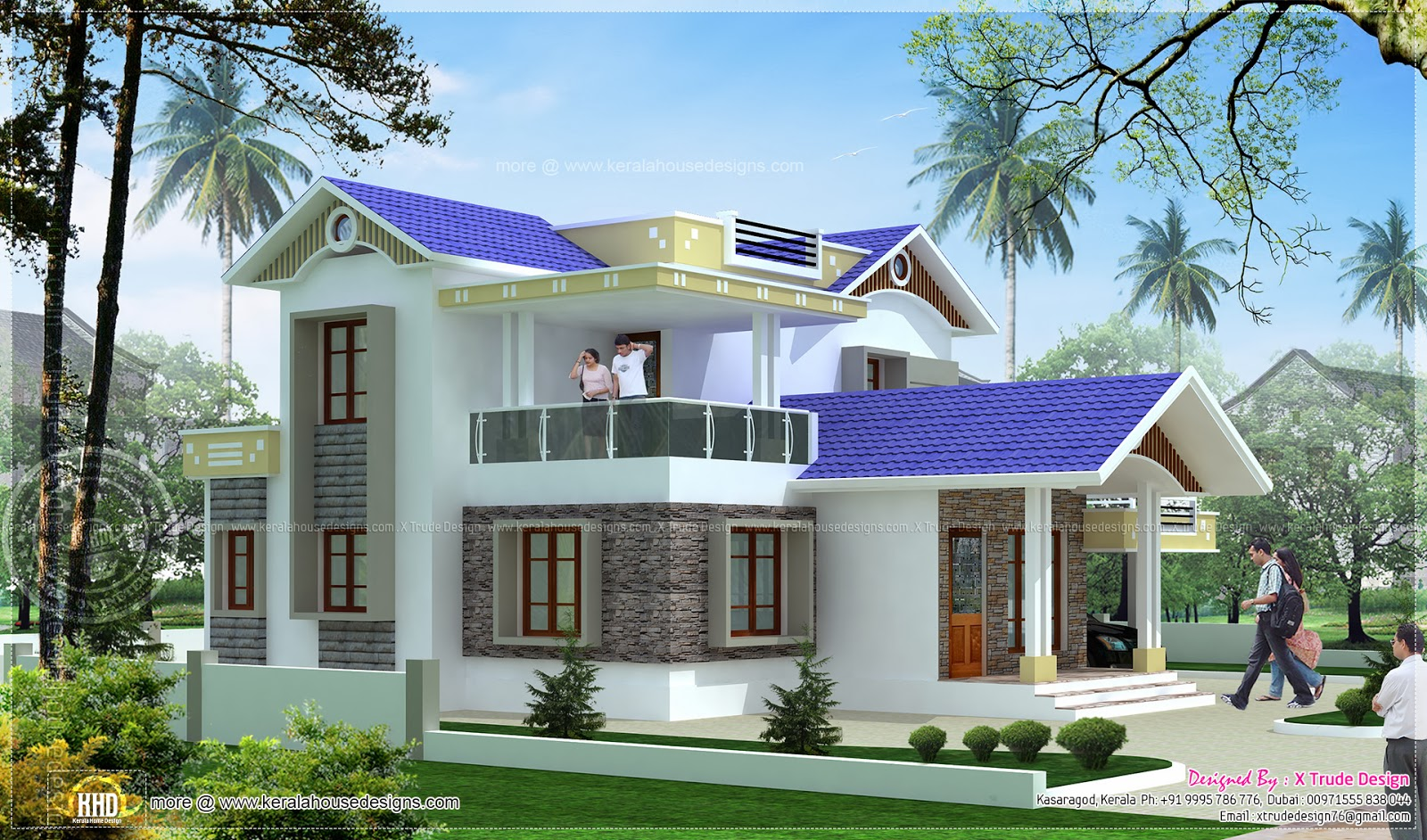 4 bedroom 1924 square feet house elevation kerala home design and floor plans - Design of home ...
