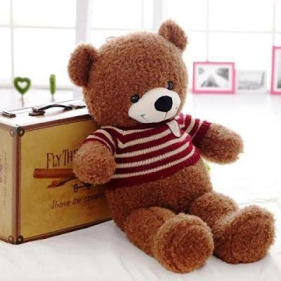Boneka Teddy Bear Cokelat Pakai Switer