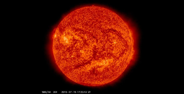 This image of the sun was taken by NASA Solar Dynamics Observations mission on July 15, 2015, at a wavelength of 304 Angstroms. Credit: NASA/SDO