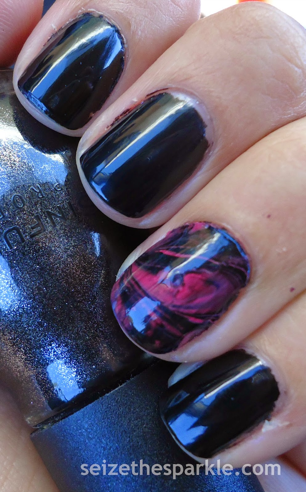 Black & Pink Water Marble Manicure