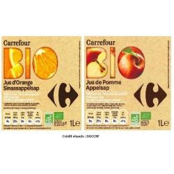 étiquettes de jus de fruit de marque Carrefour BIO