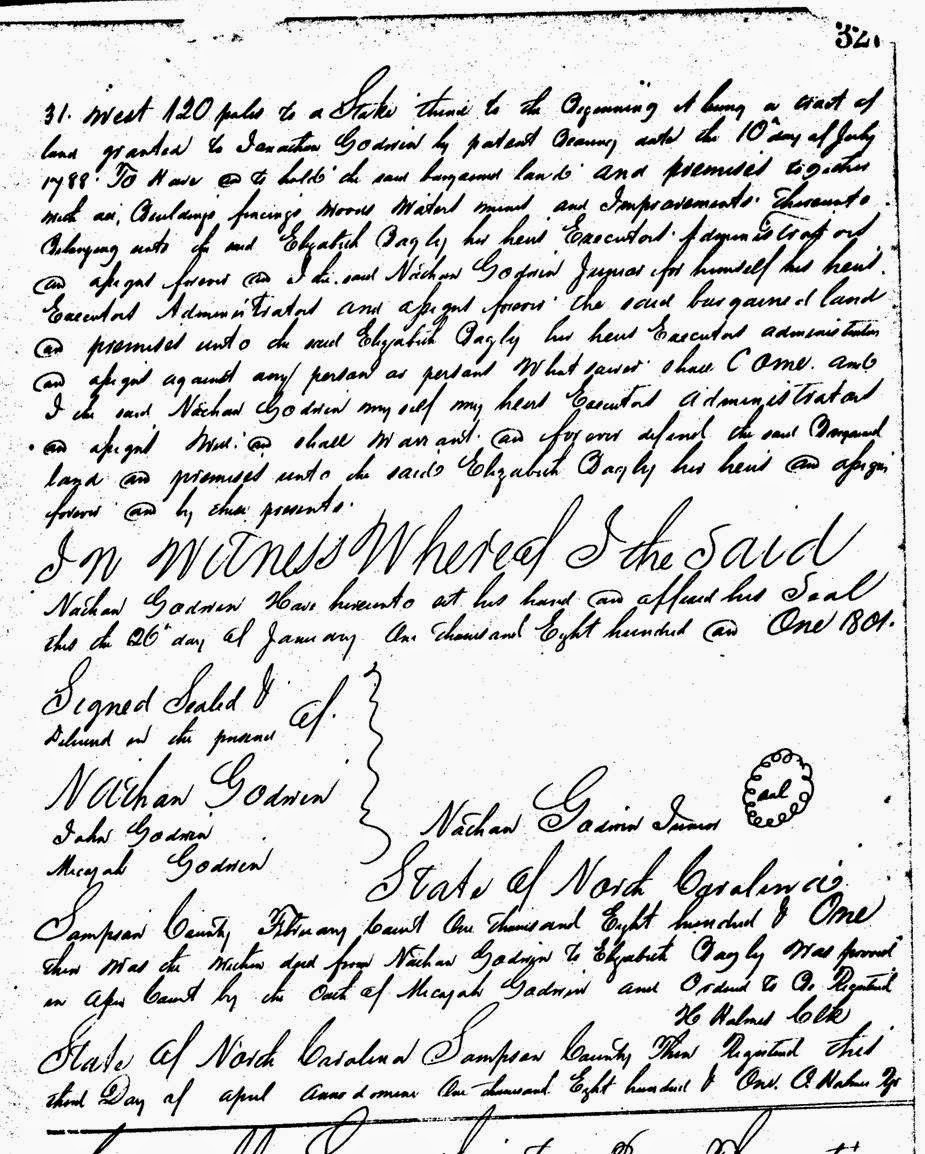 Deed Nathan Godwin to Elizabeth Bagley Sampson County NC 1801-2