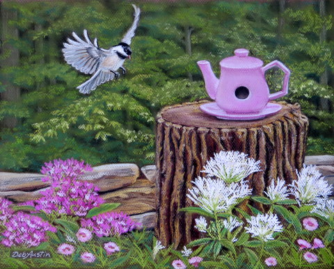 High Tea is for the Birds (pastels)