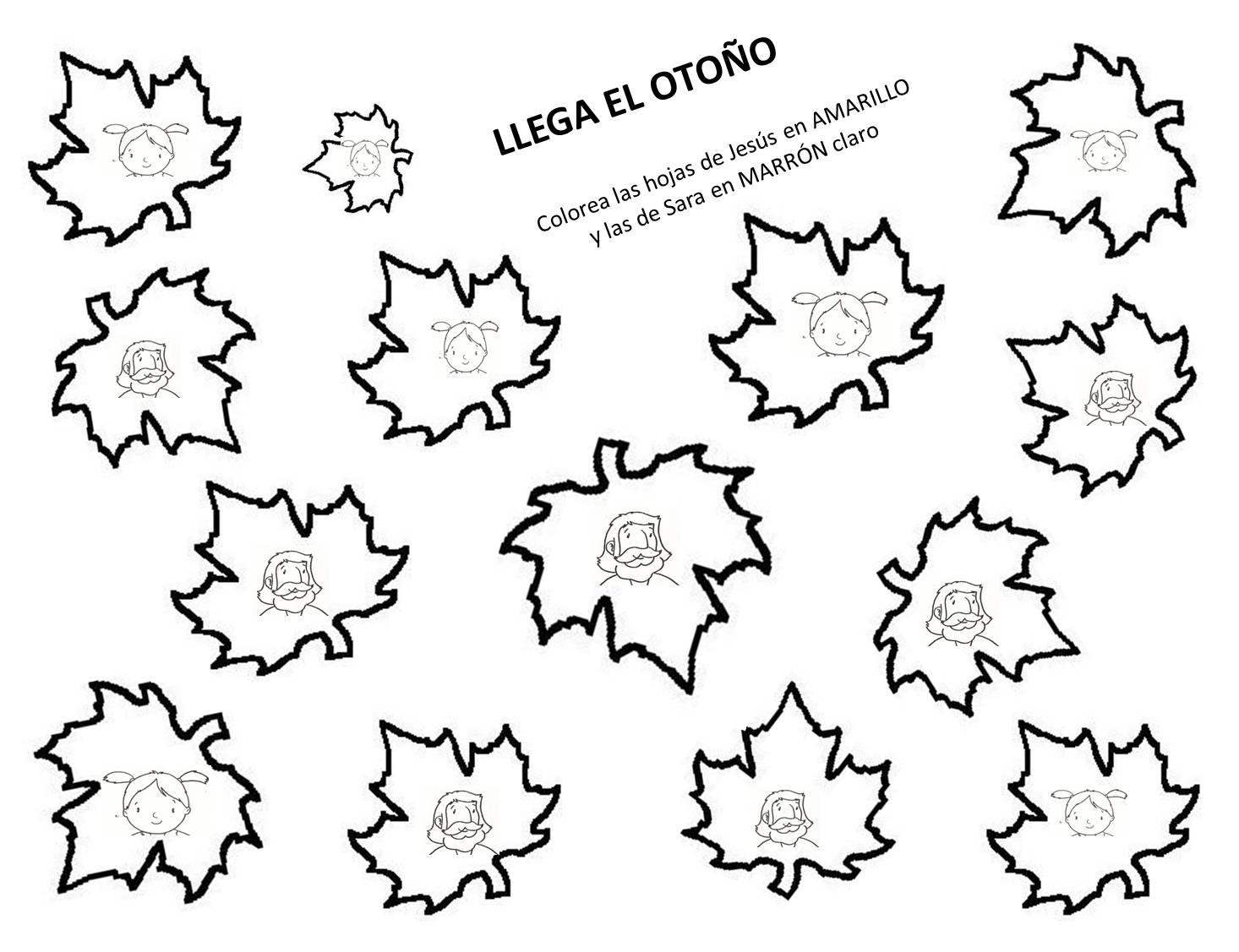 Hermosa Hojas Para Colorear De Otoño Preescolar Composición ...