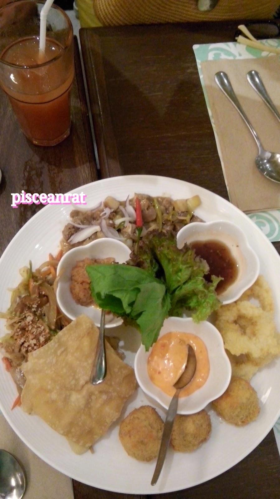 pinac food, Crispy hito balls mustasa at buro, calamares, lumpiang ubod taquitos