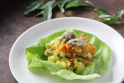 butter lettuce filled with South Indian potato curry and coconut chutney