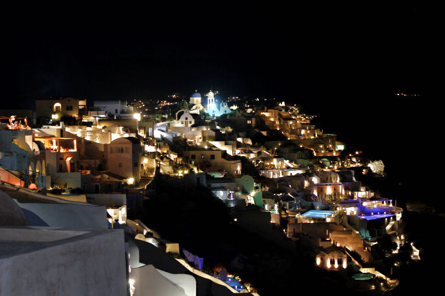 Oia at night (Santorini). Most beautiful places in Santorini. Best in Santorini.