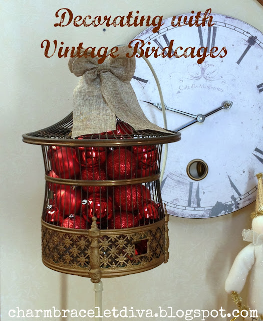 vintage A.B.Hendryx brass art deco pagoda birdcage filled with Christmas balls