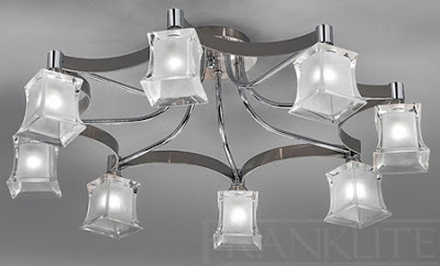 The FRX212 8 light flush fitting in satin and polished chrome