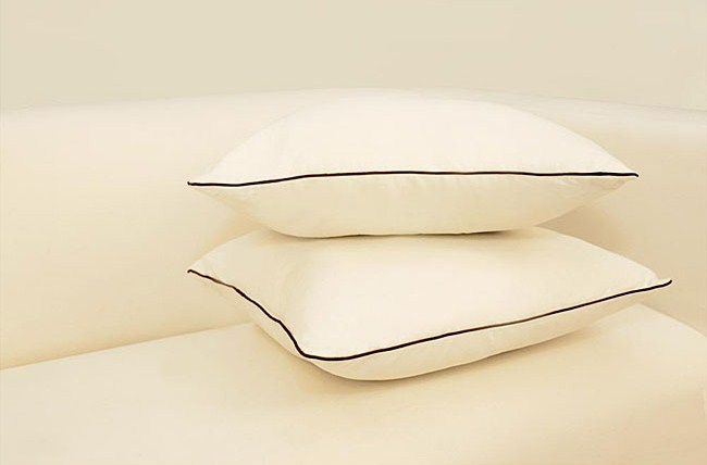 High Street Market  White Pillows With Black Piping