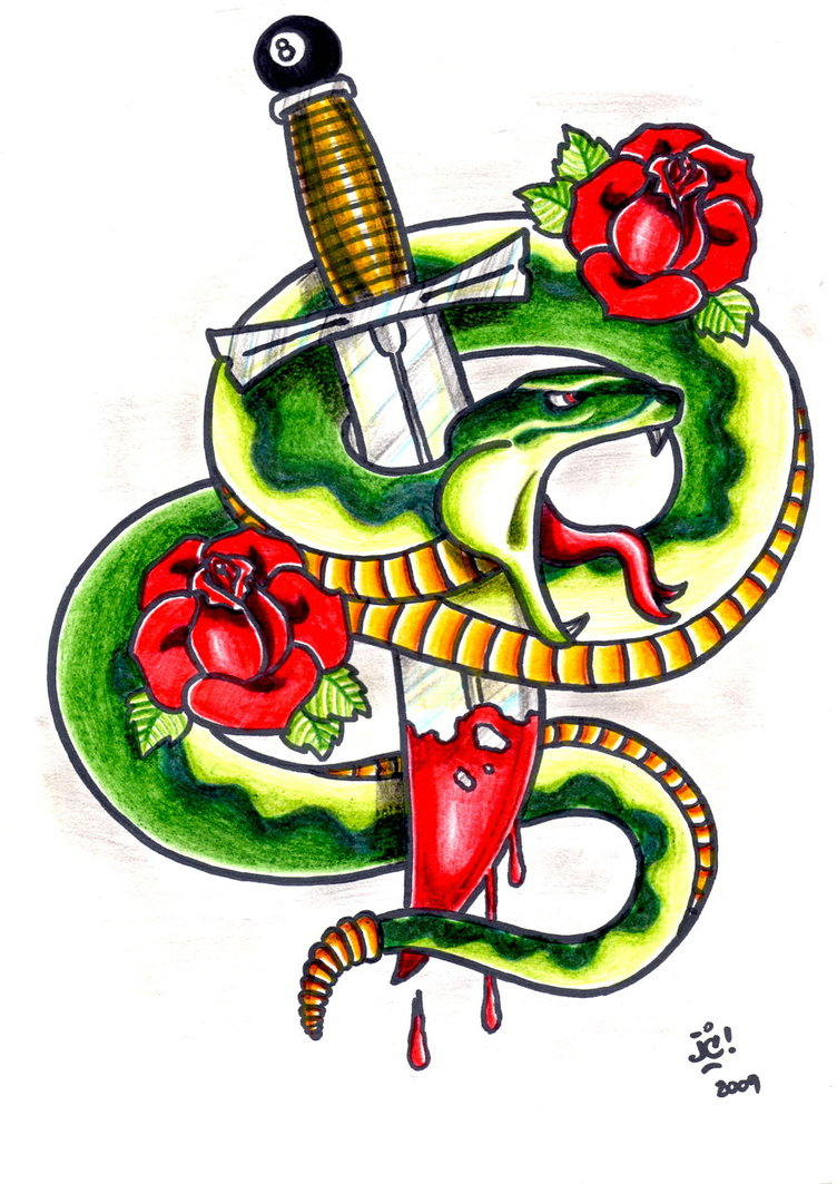 Snake and Dagger Tattoo Drawings