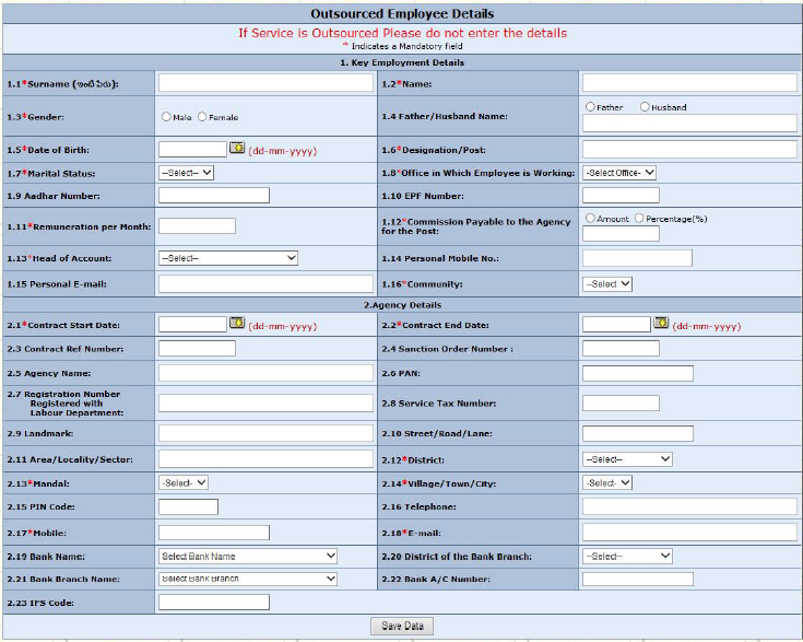 DDOs How to Fill the Outsourced Employee Details on Finance – Employee Registration Form