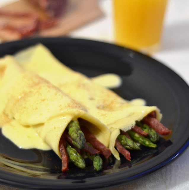 From Fast Food to Fresh Food: Salami and Asparagus Filled Crepes with an Easy Orange Hollandaise Sauce