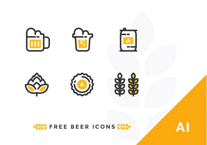 Free Outline Beer Icons (AI)