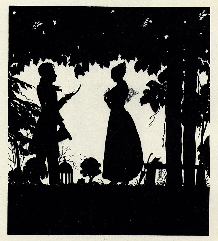 silhouette in profile of man reading to woman in forest