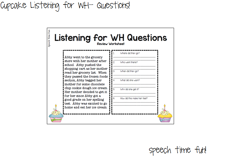Wh Questions Worksheet on Cupcake Listening For Wh Questions