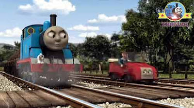 Little red motor car Winston Thomas the train engine Island of Sodor Toby the tram whistling woods