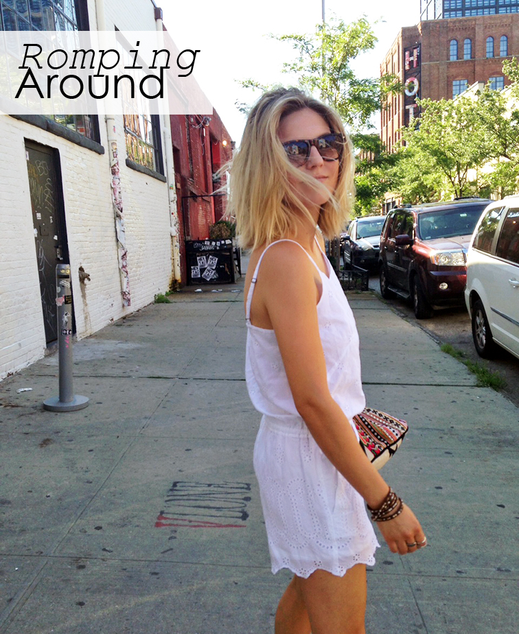 Fashion Over Reason in Brooklyn in a white LOFT eyelet romper