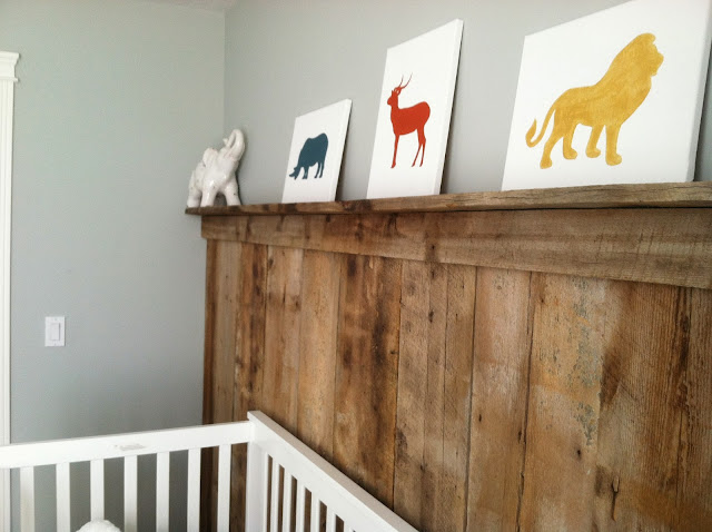 barnwood wall, barn wood, boy nursery, africa nusery, DIY canvas art