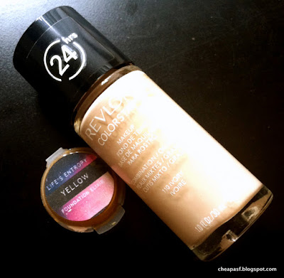 Sample size Life's Entropy Foundation Elixir in Yellow and Revlon ColorStay Makeup for Oily/Combination in Ivory