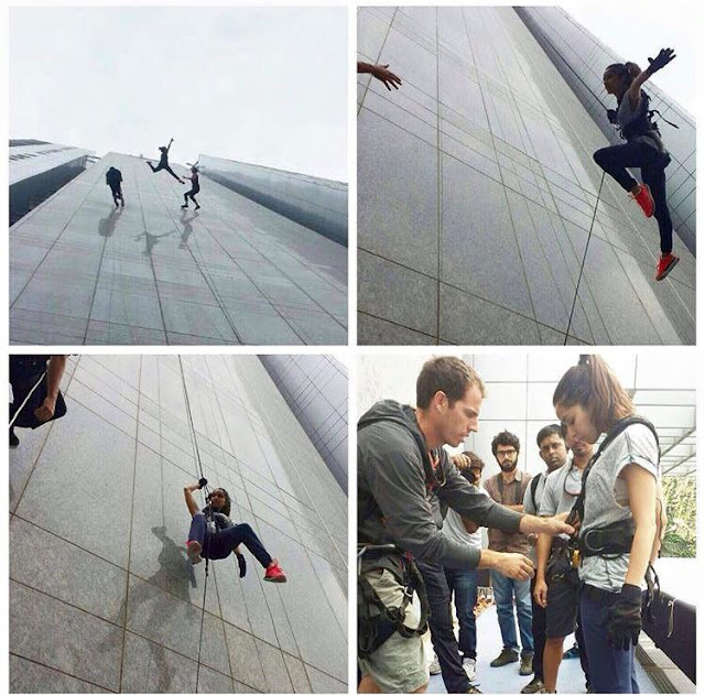 In a stunning real-life daredevil act, Bollywood actor Shraddha Kapoor leapt off the terrace of a 34-storey tall Four Seasons hotel building in Mumbai.
