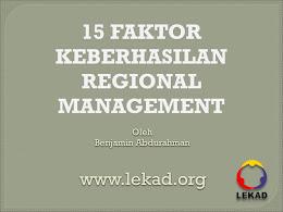 Kunci Sukses Regional Management