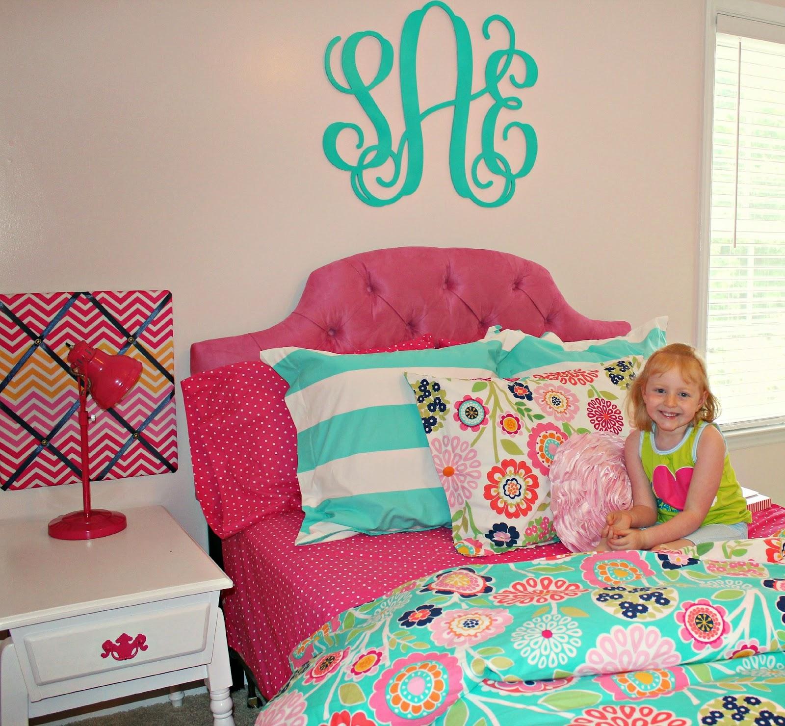 Hot Pink And Turquoise Girls Bedroom Makeover: Carolina On My Mind: Big Girl Bedroom: Monogram Over Bed
