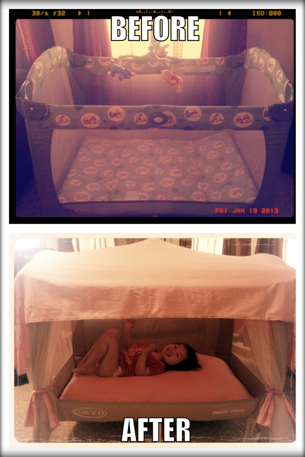 Making a diy toddler bed babygaga for Diy baby crib canopy